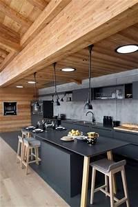 la cuisine ouverte ose le noir pour se faire deco With marvelous meuble bar design contemporain 3 appartement design deco contemporaine style industriel