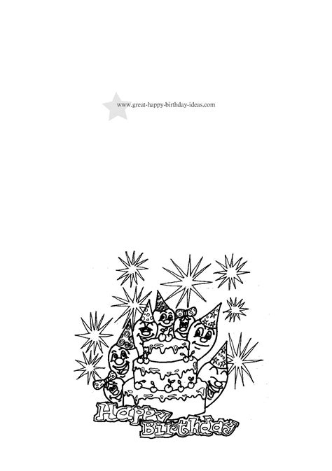birthday coloring cards  printable