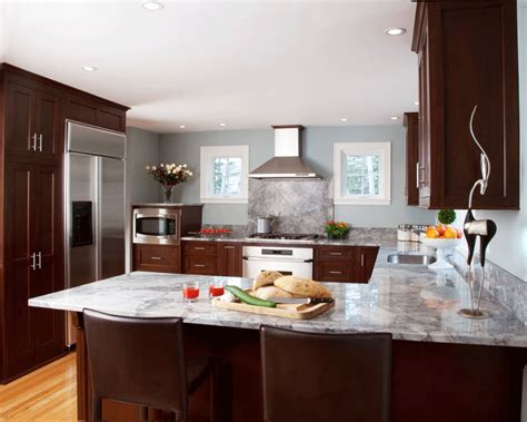 walnut kitchen cabinets granite countertops walnut cabinets with white granite countertops 8902