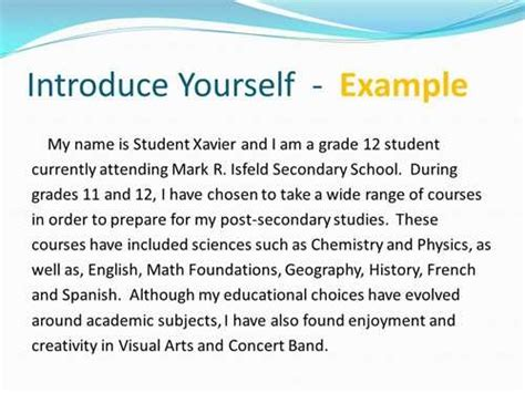 introduce yourself essay language123