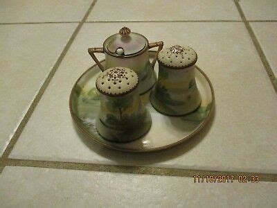nippon hand painted tray condiment serving set salt