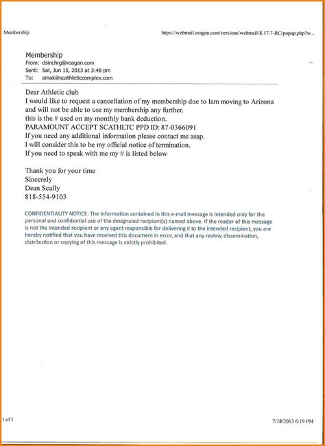 fitness services cover letter 8 membership cancellation letter sales slip template