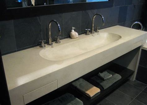 double  concrete wall mounted sink   integral