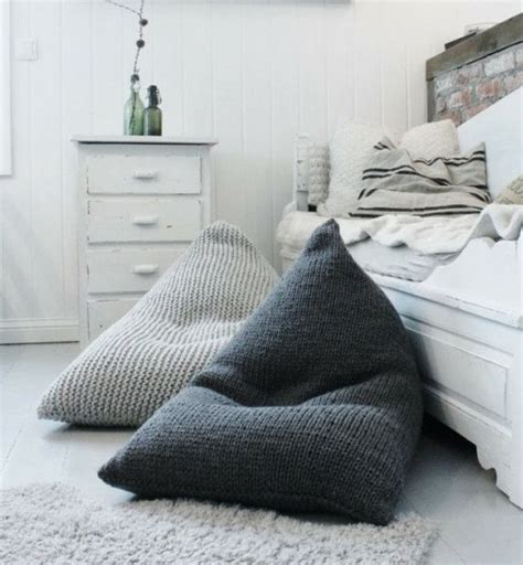 chunky merino wool grey knitted bean bag