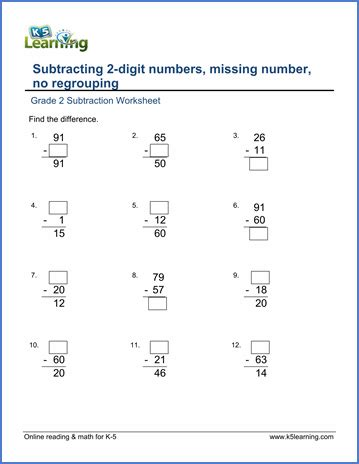 grade 2 math worksheets subtract 2 digit numbers missing numbers k5 learning