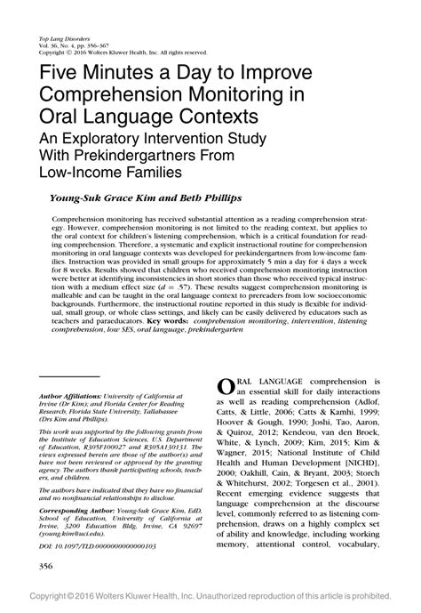 (pdf) Five Minutes A Day To Improve Comprehension Monitoring In Oral Language Contexts An
