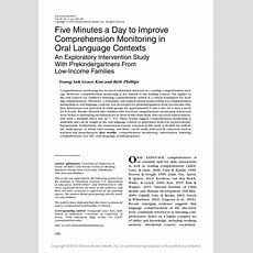 (𝗣𝗗𝗙) Five Minutes A Day To Improve Comprehension Monitoring In Oral Language Contexts An