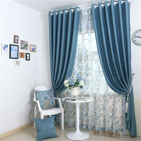 modern looking blackout bedroom blue curtains