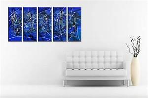 Tableau En 5 Parties : quintyque abstrait tableau en 5 parties bleu noir et blanc ~ Dailycaller-alerts.com Idées de Décoration