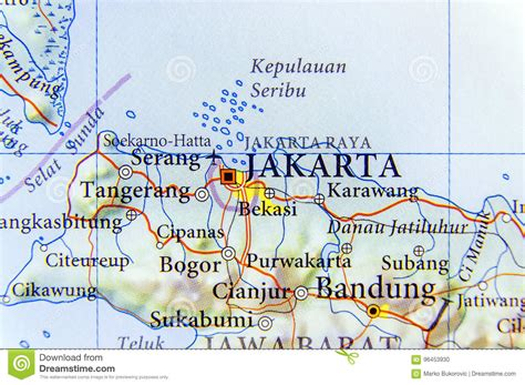 geographic map  indonesia capital city jakarta stock