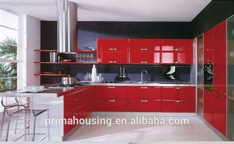 Luxury Kitchen Design,Red Lacquer Kitchen Cabinet,Shiny