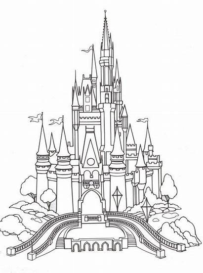 Castle Disney Coloring Cinderella Printable Disneyland Webs