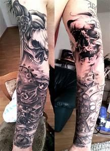 Tattoo Ganzer Arm Frau : tat frank totenkopp arm tattoos von tattoo ~ Frokenaadalensverden.com Haus und Dekorationen