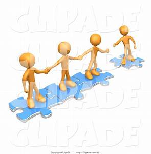 Clip Art of a Team of Three Orange People Holding Hands ...
