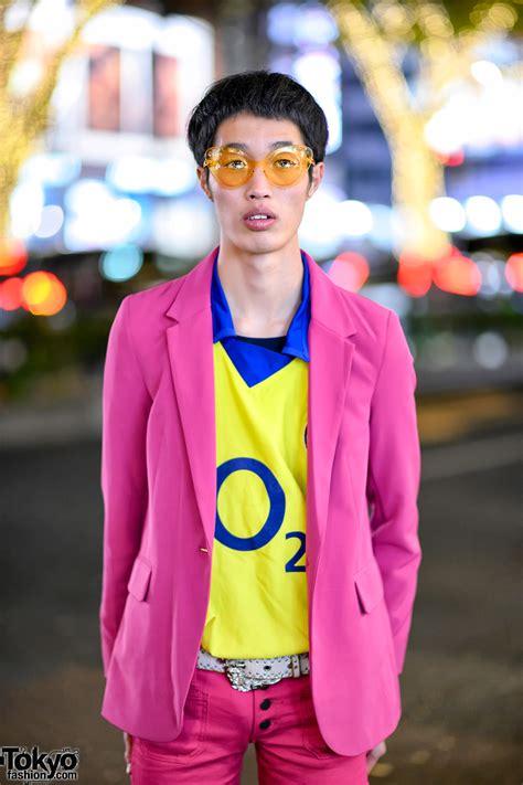 pink suit  flare pants yellow arsenal  shirt batman sneakers  harajuku tokyo fashion