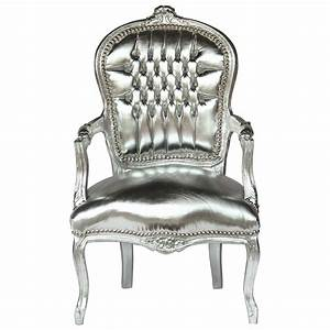 Meuble Shabby Chic : french shabby chic silver leafed wood frame sky leather silver armchair ~ Preciouscoupons.com Idées de Décoration