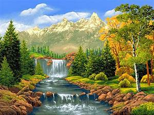 Nature scenery waterfall trees Diy diamond painting kits ...