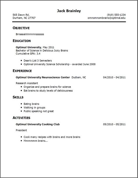 exle of resume title
