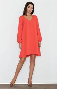 robe trapeze manches longues rouge flm556r idresstocode With robe trapeze manche longue