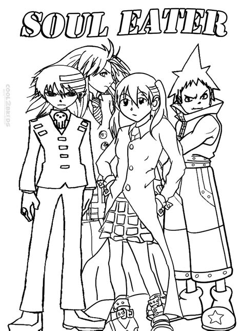printable soul eater coloring pages  kids