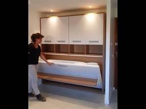 armoire lit escamotable avec bureau youtube With armoire lit escamotable avec canape