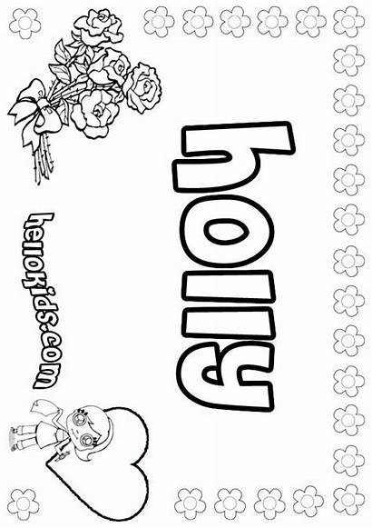 Holly Coloring Pages Names Girly Hellokids Popular