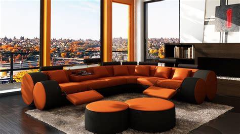 Orange Contemporary Sofa by Divani Casa 3087 Modern Orange And Black Bonded Leather
