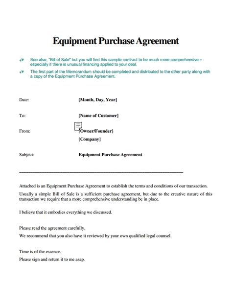 equipment purchase agreement templates  word