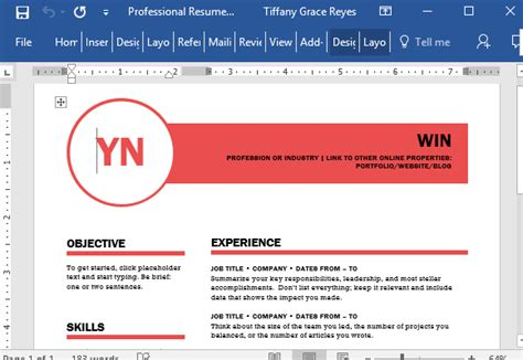 professional resume template for word