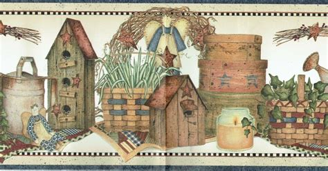 country primitive birdhouse baskets candles stars