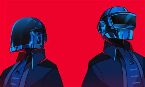 music, Daft Punk, artwork, red background, electronic ...