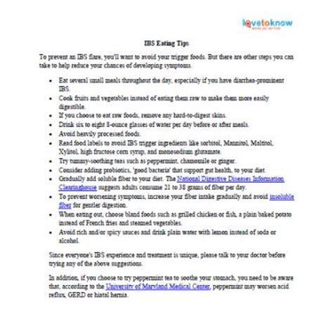 diet sheets for ibs lovetoknow