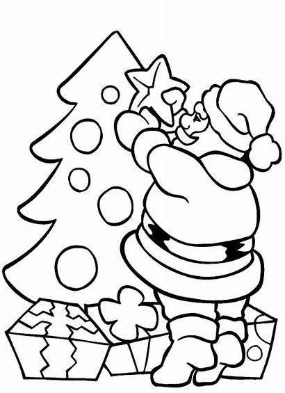 Santa Christmas Coloring Tree Pages Claus Decorating