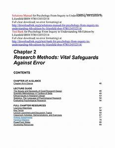 Solutions Manual For Psychology From Inquiry To