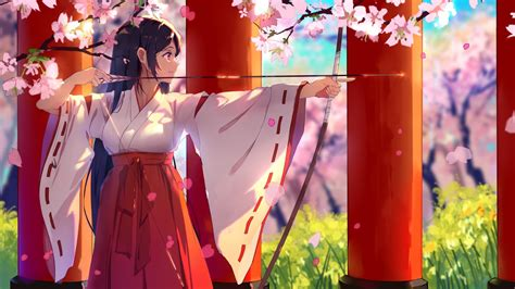 Anime Kimono Wallpaper - wallpaper anime bow cherry