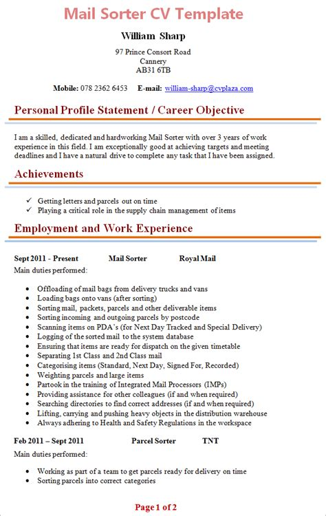 Email Resume by Mail Sorter Cv Template 1