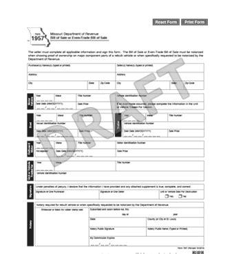 missouri bill  sale form  template