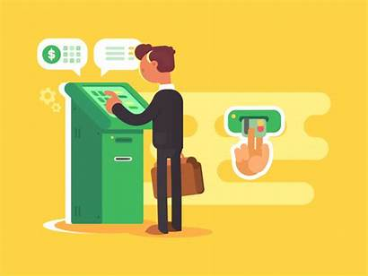 Atm Withdrawal Dribbble Money Animation Gifs Flat