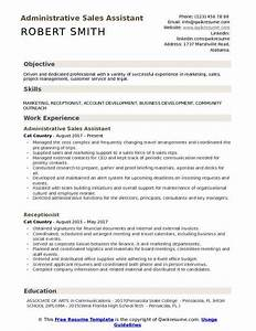 Resume Sample Administrative Support Project Management Administrative Sales Assistant Resume Samples Qwikresume