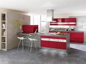 inspiration idee deco cuisine gris et rouge With idee d co cuisine rouge