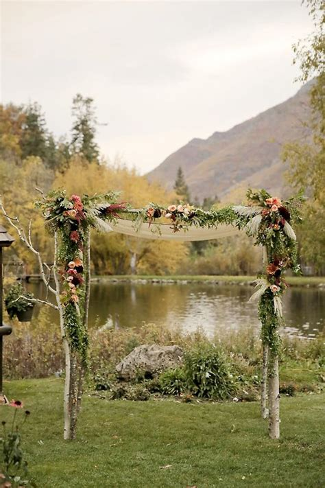 outdoor fall wedding arch  altar ideas page