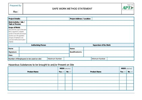 Work Procedures Template by Safe Work Method Statements Smws And Maintenance