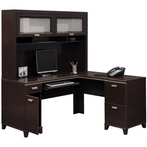 Computer Desk L Shaped With Hutch by Bush Fairview L Shape Wood Computer Desk Set With Hutch In