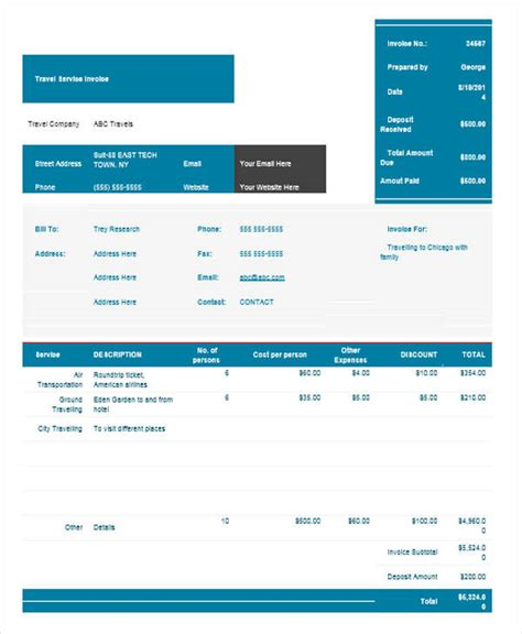 sample travel invoice templates   ms word