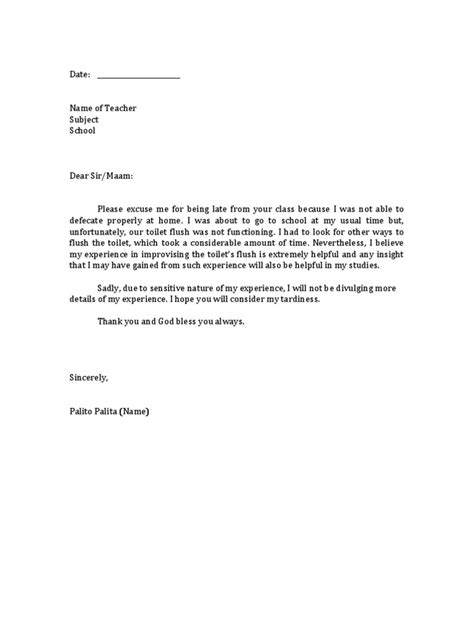 excuse letter student tardiness