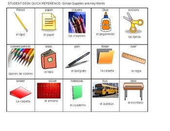 spanishenglish quick reference school words  thriving