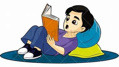Reading Boy Clipart Books Vector Cartoon Kid