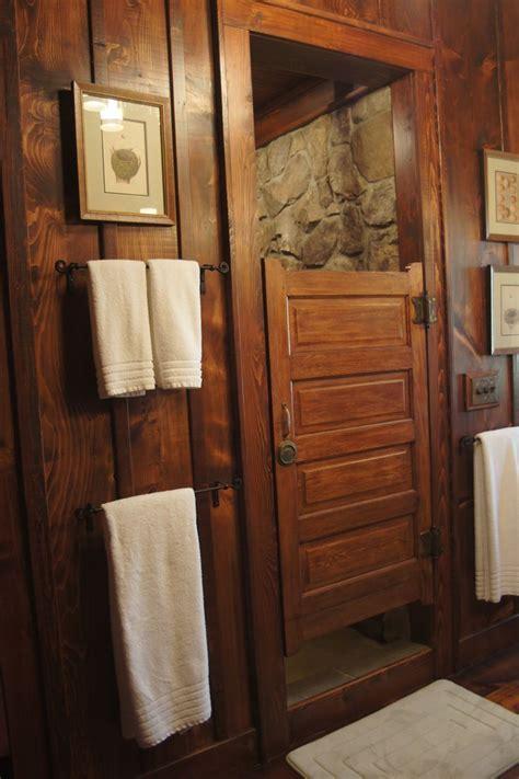 reclaimed school bath door for shower door, rock shower
