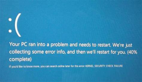 repairing kernel security check failure errors