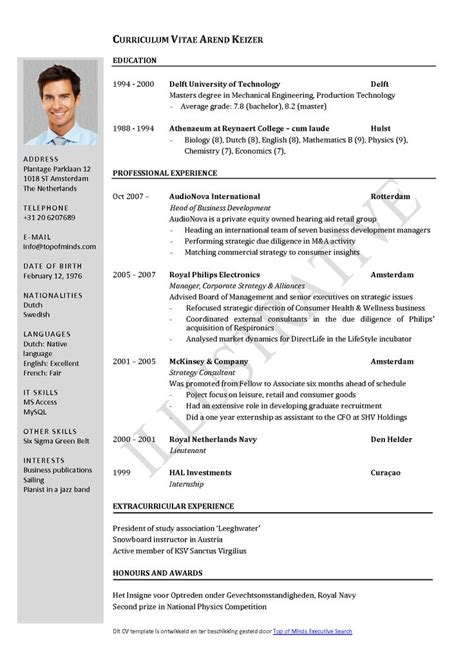 curriculum vitae layout template curriculum vitae template word free english cv